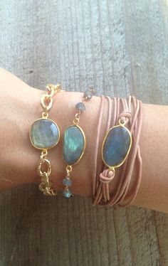 Leather wrap Bracelet with Labradorite Bezel Set by joydravecky