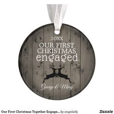 Our First Christmas Together Engaged Reindeer Ornament - rustic gifts ideas customize personalize Our First Christmas Ornament, Cheap Christmas Gifts, Christmas Couple, Personalized Christmas Gifts, Christmas Themes, Christmas Ornaments, Christmas Christmas, Christmas Wedding, Christmas Decorations