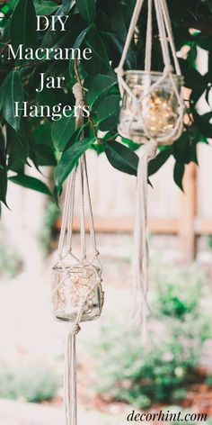 This is a diy macrame jar hanger tutorial. Macrame is still popular as ever! Today I'm going to show you how to make these DIY Macrame Jar Hangers in literally 5 minutes! And - I used leftover yogurt jars! These look so pretty - I'm obsessing over them. Hanging Jars, Diy Hanging, Plants In Jars, Small Plants, Macrame Cord, Macrame Bag, Macrame Knots, Macrame Plant Hangers, Macrame Projects