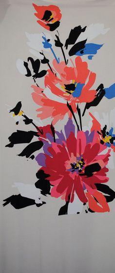$6.00 for 1 panel 95% Polyester, 5% Lycra 1 panel = 2/3 yard, 24 X 60 inches Floral design on a tan background. Leftover designer