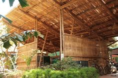 bamboo weaved roof