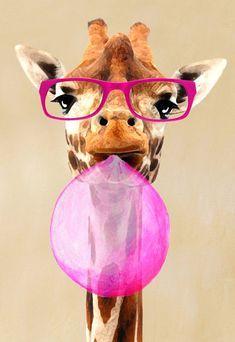 Portrait peinture animalière, peinture giclée Print acrylique peinture Illustration Print wall art décoration murale Wall Hanging : Girafe avec bubblegum