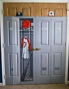 Boys Room Closet Painted To Look Like Locker For Sports Theme Bedroom Original Was Builders Standard White Folding Could Totally Redo This A