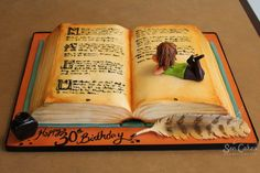 Jessicakes How To Make An Open Book Cake Inspirations Pretty Cakes, Cute Cakes, Beautiful Cakes, Amazing Cakes, Fondant Cakes, Cupcake Cakes, Violetta Cake, Open Book Cakes, Bolo Diy
