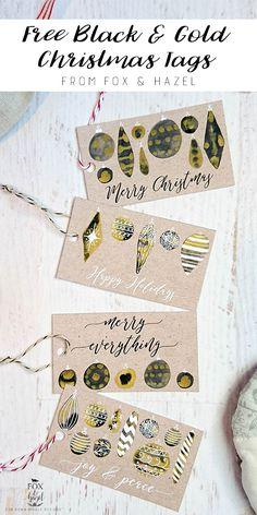 Black + Gold Free Printable Christmas Tags / Fox & Hazel