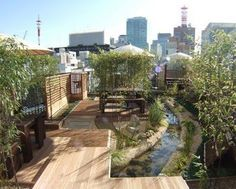 """Japanese company Toshimaya Co. """"... remodeled this drab, sterile... concrete cube with a terrific roof garden, as part of Japan's movement to reduce CO2 emissions, called Minus Six Degrees"""