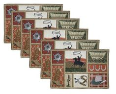 Park B. Smith Western 6-Piece Tapestry Placemat Set, 12-1/2 by 19-Inch by Park B. Smith. $28.86. Detailed tapestry construction suitable for many settings. Round 'em up to the table with this fun western motif. Cotton rich blend. Machine washable. Imported with coordinates available. 70% Cotton / 30 % Polyester. Round 'em all up to the table with the Western tapestry 6-Piece placemat set from Park B. Smith. The detailed tapestry construction is suitable for many settings. Mach...