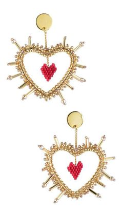 Beaded Earrings Patterns, Seed Bead Earrings, Diy Earrings, Heart Earrings, Beading Patterns, Heart Jewelry, Beaded Jewelry, Beaded Bracelets, Jewellery