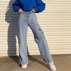 Cargo Jeans, Lässigen Jeans, Cargo Pants Women, High Jeans, High Waist Jeans, Pants For Women, Clothes For Women, Casual Jeans, Women's Casual