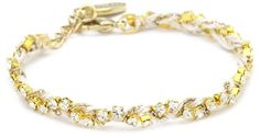 Ettika Tan Silk Thread and Rhinestone Crystal Braided Bracel