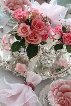 My idea of a perfect tea table... crystal, pink roses, silver and gold rimmed china