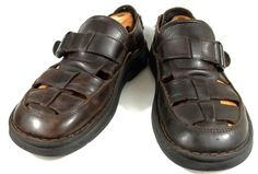 Skechers Fisherman Sandals Solid Brown Leather Shoes Mens Size 12 D #SKECHERS #Fisherman