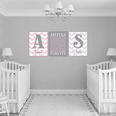 personalized twin baby girl gifts | purple and pink twin girls nursery decor | sisters wall art | chevron nursery decor | twin girl wall art  Looking for a unique gift or nursery decor for those twin girls or sisters? Get this custom sisters together wall art with monograms and names with either museum quality unframed prints or canvas wraps. This professionally printed art will not disappoint and will be cherished for years and years to come.  <-----------HOW TO ORDER------------->  PLEASE…