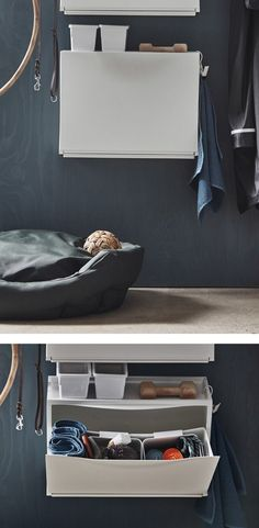 An IKEA TRONES shoe cabinet in a hallway stores dog accessories and is mounted above a dog bed. Space Hack, Dog Storage, Hallway Storage, Wall Storage, Article Design, Wood Patterns, Tiny Living, Living Room, Dog Supplies