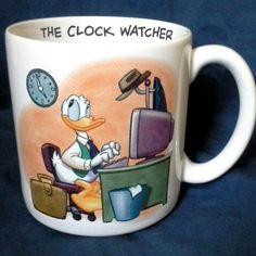 DONALD DUCK Disney Store CLOCK WATCHER Funny Coffee Mug Cup Office Work MINT EUC