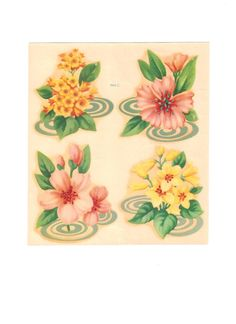 Vintage Flower Decals Meyercord Flower Decals by EclecticEmbrace