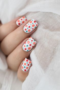 Marine Loves Polish: Colorful polka dots nail art [VIDEO TUTORIAL] - Dotticure