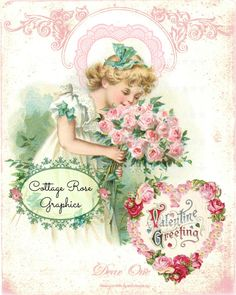 Large digital download Dear One Heart Pink Roses vintage Victorian Valentines, Vintage Valentine Cards, Vintage Greeting Cards, Vintage Children's Books, Vintage Ephemera, Valentines For Singles, Old Sheet Music, Rose Cottage, Vintage Easter