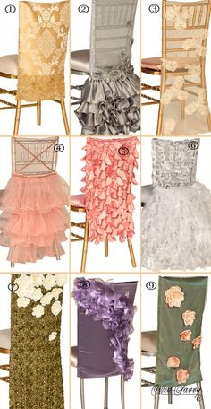 I hate chair covers but some of these are nice. new chair cover rentals Wedding Chair Decorations, Wedding Chairs, Wedding Table, Chair Ties, Chair Sashes, Chair Backs, Chair Cover Rentals, Decoration Evenementielle, Party Chairs