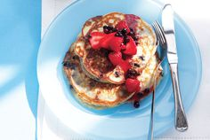Loaded with blueberries and topped with compote, there's no need to add calorie-laden butter or syrup to these pancakes.