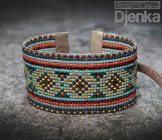 Handmade ethnic beading bracelet - feel free to purchase it. Loom Patterns, Beading Patterns, Print Patterns, Bead Loom Bracelets, Cuff Bracelets, Diy Jewelry, Beaded Jewelry, Wire Wrapped Bracelet, Brick Stitch
