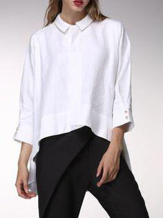 White 3/4 Sleeve Linen Plain Blouse