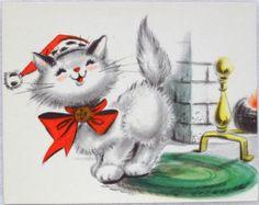 S Hallmark Santa Cat Vintage Christmas Greeting Card Cat Christmas Cards Christmas