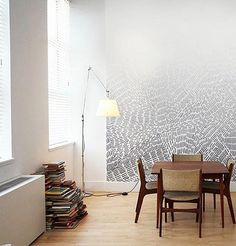 Really love the organic wall drawing, It's modern and classy but has a sense of charm that most spaces are missing