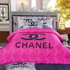 Pink Chanel (King or Queen) set includes- comforter, sheet and 2 pillow cases Option Black and White Flower Chanel Bedding King bedding. White Comforter Bedroom, Pink Bedding Set, Pink Pillows, Grey Bedding, Comforter Sets, King Comforter, Black Pillows, Comforter Cover, Chanel Bedding