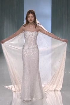 """Beautiful Embroidered Sweetheart Mermaid Wedding Dress / Bridal Gown with High Neckline, Strapless Illusion, Long Sleeve Illusion, Open Back Illusion, Nude Swarovski Covered Veil and a Train. Collection """"Victorian Affinity"""" by Galia Lahav Wedding Dress With Veil, Stunning Wedding Dresses, Lace Mermaid Wedding Dress, Mermaid Dresses, Dream Wedding Dresses, Bridal Dresses, Beautiful Dresses, Mermaid Gown, Unique Wedding Gowns"""