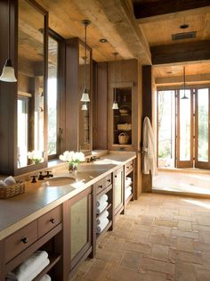 #Mountain #chic #rustic (yet refined) Love the beams and the brick floor