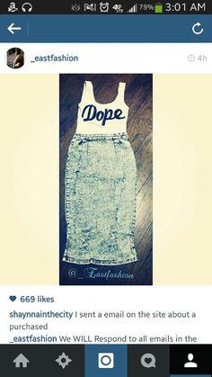 Dope tank high waisted jean skirt