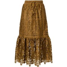 See By Chloé ruffled lace skirt ($610) ❤ liked on Polyvore featuring skirts, brown, midi flare skirt, flounce skirt, calf length skirts, lace skirt and bohemian skirts
