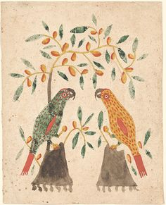 Item No: frk00427    Title:  Drawing (Two Parrots on Trees)    Category:  Drawing    Creators:   Decorator: Anonymous   Scrivener: Anonymous    Creation Place:   State/Province: [Pennsylvania]   Note: Based on design characteristics    Creation Date: ca. 1800 - ca. 1825