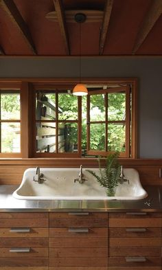 stainless steel countertop, sink, french casement hardware