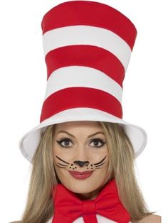 3e8fc5a7 Unisex Adults Fancy Dress Animal Party Headwear Cat In The Hat Red & White  - saving money stores. Fiona Gallagher · childrens book week ideas