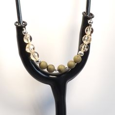 Women's Beaded Stethoscope ID Pendant Charm Jewelry Accessories Olive and Yellow by DungleBees on Etsy