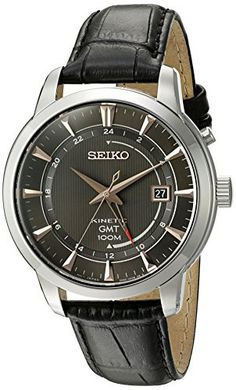 Seiko Men's 'Kinetic' Quartz Stainless Steel and Black Leather Dress Watch…