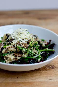 Quinoa, Swiss chard, mushroom, asparagus.