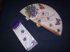 abanico pintado y bolsita de brik