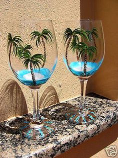 Hand Painted Tropical, Beach Palm Tree Wine Glasses - NEW  Design