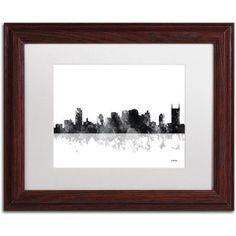 Trademark Fine Art Nashville Tennessee Canvas Art by Marlene Watson, White Matte, Wood Frame, Size: 11 x 14, Brown
