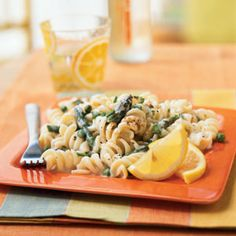 Pasta with Lemon Cream Sauce, Asparagus, and Peas | MyRecipes.com
