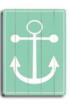Green Anchor Distressed Wood Wall Plaque. Good idea for bathroom.