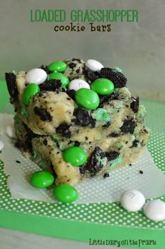 Loaded Grasshopper Bars with melt in your mouth cookies are a mint lovers dream! - Little Dairy on the Prairie