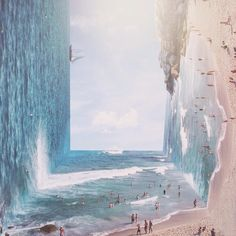Turning oceans on their sides and beaches into XXL stadiums, graphic designer Jati Putra distorts images through a process of digital bending and layering that confuses the senses as to where is up or down. Working with images that capture large-scale environments, Putra transposes ocean scenes