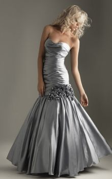 Silver Mermaid/Trumpet Strapless Dropped Long/Floor-length Sleeveless Flower(s) Satin Lace-up Prom Dresses Dress