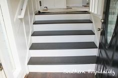 update old stairs with painted pine treads and new risers, diy, how to, painting, stairs, woodworking projects, Foyer stairs