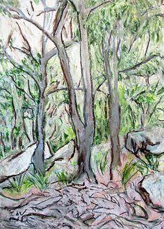 Modern Art Original Art Original Landscape Drawing by InekedeVries Australian Bush, Oil Pastel Drawings, Landscape Drawings, Forest Landscape, Modern Art, Original Artwork, Abstract Art, Handmade Jewellery, Art Prints