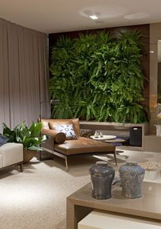 vertical garden in the living room - I would replace boston fern with staghorn ferns or succulants - love the leather chaise and the colors and designs of ceramic jars.  Can imagine the sunlight streaming in if drapes were open